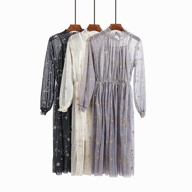 2018 spring new women's stars embroidery lace dress female stand collar lantern sleeve mesh dress women dresses 2 piece set