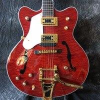İnsan Şeffaf kırmızı, altın tremolo. ücretsiz teslimat, resim gerçek çekim 333 caz eski elektrik gitar kapitone maple top