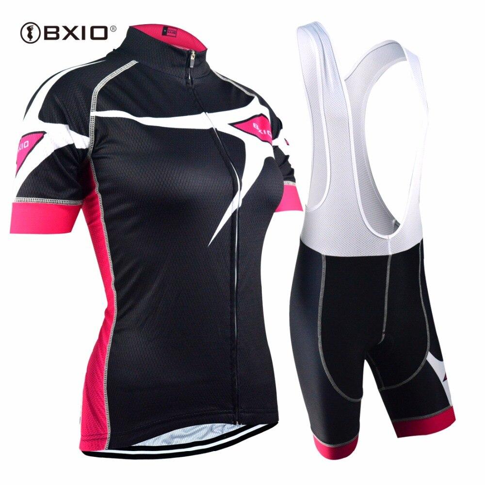 Prix pour L'UE Marque BXIO Femmes Cyclisme Maillots Sans Soudure Couture Manches Courtes Vélo Vêtements Pro 5D Gel Pad Court Maillot Ciclismo 129