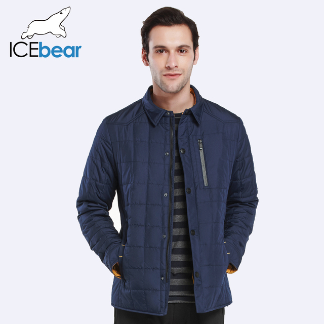 ICEbear 2017 Spring Autumn Men's Casual Single Breasted Jacket Brand Thickening Casual Cotton-Padded Jacket Men 17MC222D