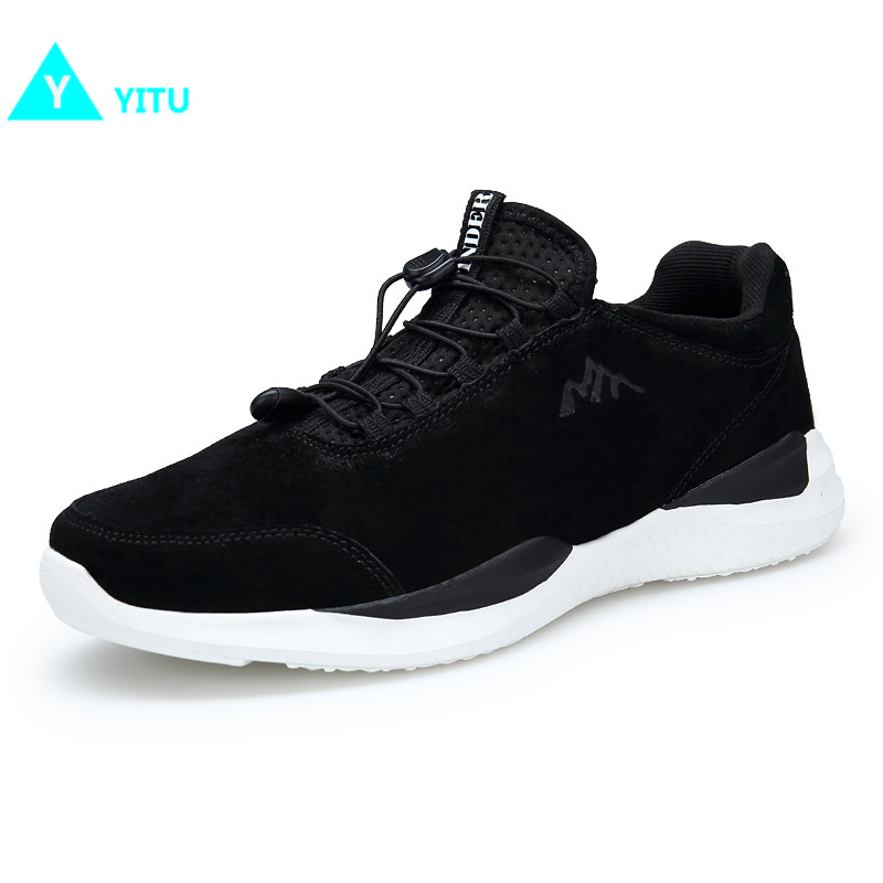 YITU Outdoor Sports Running Shoes For Men Breathable Non-slip Damping Men Light Running Sneakers Autumn Logging Black Size 40-44 apple summer new arrival men s light mesh sports running shoes breathable fly knit leisure comfortable slip on sneakers ap9001