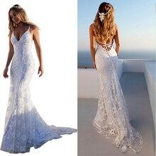 Valentines Day White Lace Long Dress Bohemian Backless Open Back Mermaid Dresses Female Vestidos Honeymoon