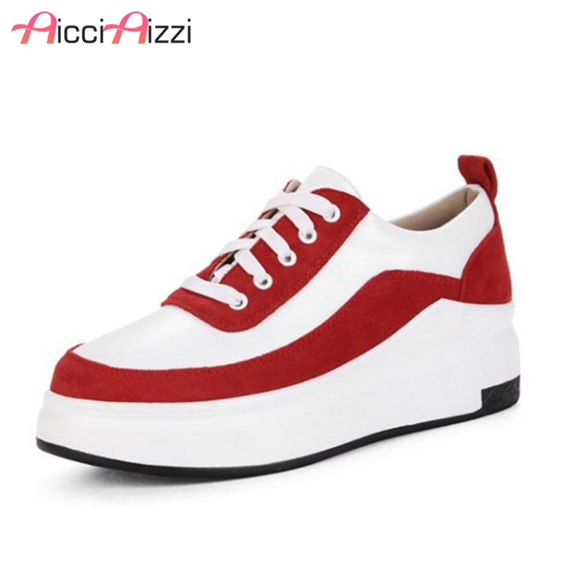 AicciAizzi Women Flats Shoes Fashion Casual Lace Up Platform Street Spring Autumn Women Footwear Vacation Shoes Woman Size 31 43
