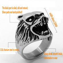 Mens Ice Wolf Ring  Stainless steel casting wolf head ring