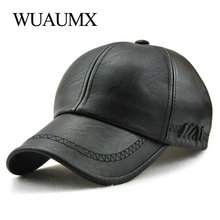 Wuaumx Fall Winter PU Leather Baseball Caps For Men Women Faux Dad Hats Bone Snapback Solid Hip Hop Cap Adjustable