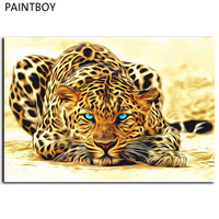 Frameless Leopard Animals Pictures Painting By Numbers DIY Canvas Oil Painting Home Decoration For Living Room