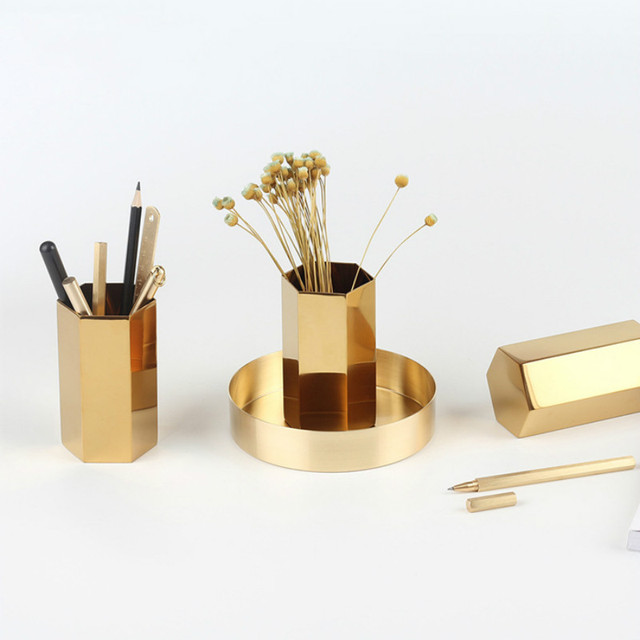 Beau Metal Stationery Box Office Square Housed Office Desk Accessories  Accesorios Oficina Desk Pen Holder Pen Stand
