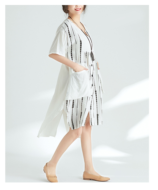 Quirky Lagenlook Asymmetrical hem Big Pockets Casual Flax A-Line Dress 2018 Plus Size Cotton&Linen Tunic Dress Summer Vestidos 3