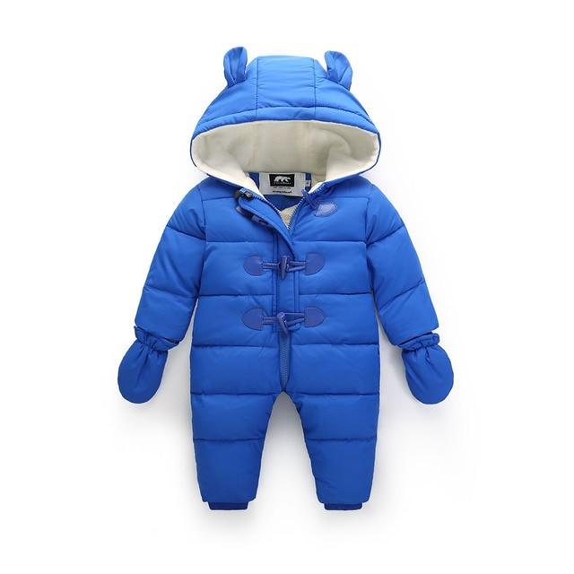Россия Утолщенной зима ребенка детский зимний комбинезон, мальчик гриль куртка вниз снег износ, 0-3Y baby clothing Водонепроницаемый комбинезон перчатки