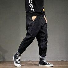 Fashion Streetwear Men Jeans Vintage Black Color Loose Fit Harem Trousers Tapered Pants hombre Embroidery Design Hip Hop Jeans men tapered leg plain jeans