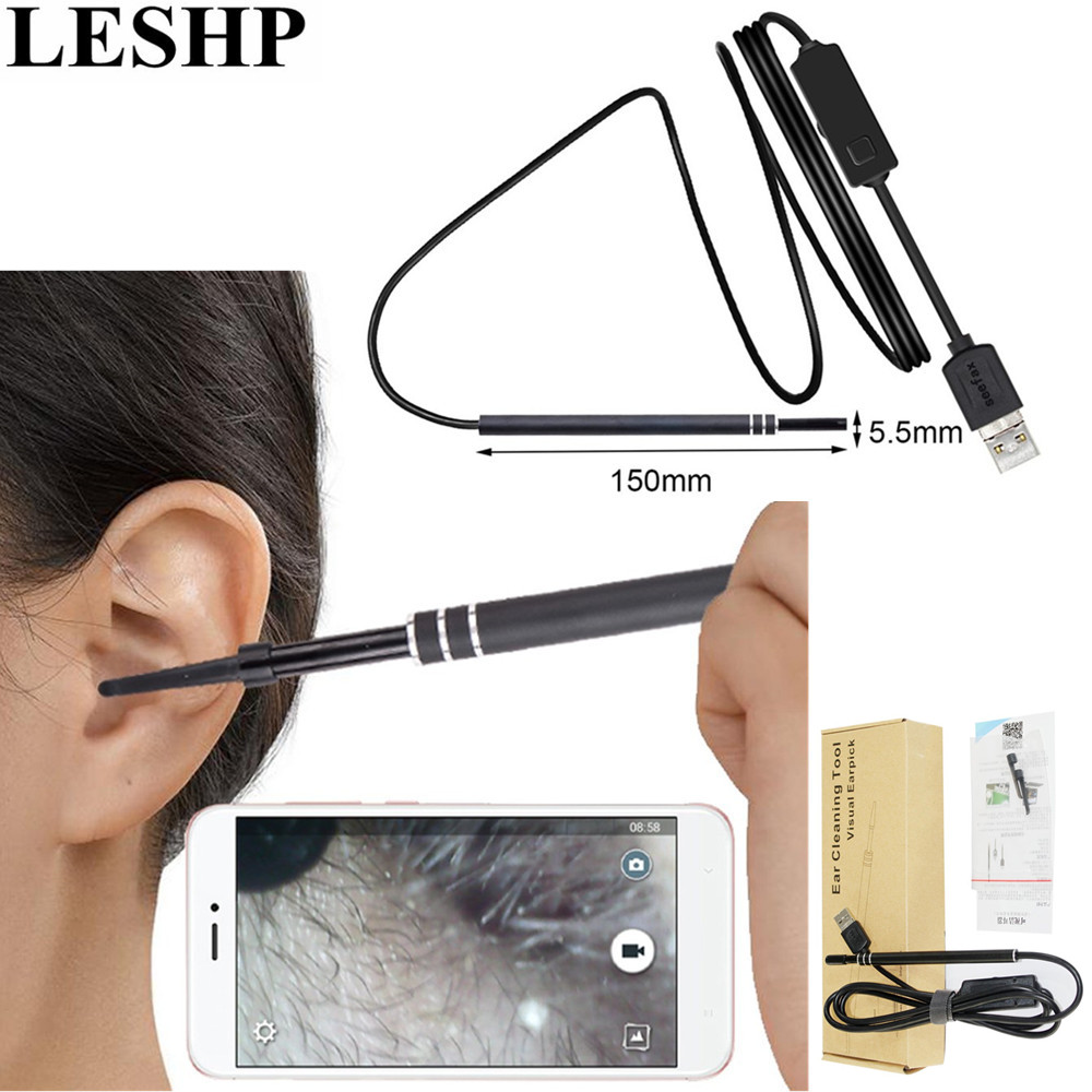 LESHP Multifunctional Endoscope Earpick 2-in-1 USB Ear Cleaning HD Visual Ear Spoon With Mini Camera Ear Cleaning Tool medical led otoscope 3x magnification portable diagnostic kit ear cleaning endoscope hd visual ear spoon ear health care 30
