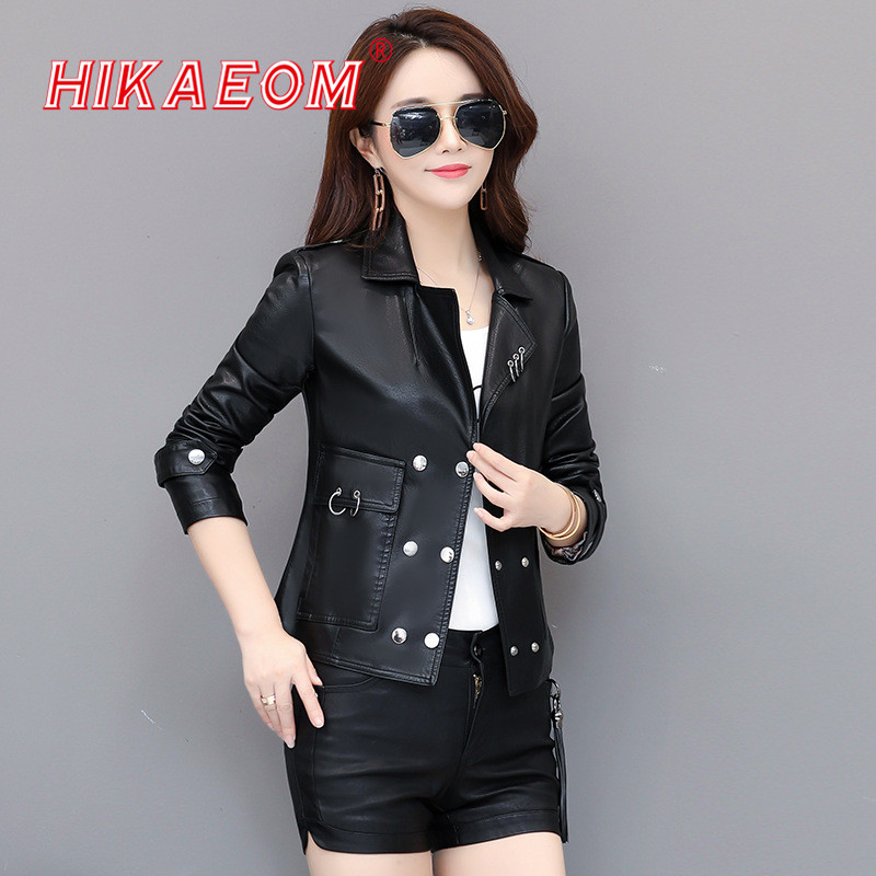 Spring Autumn New Casual Fashion Short   Leather   Jacket Women Locomotive Double-breasted Turn-down Collar Slim Pocket Jackets 2019