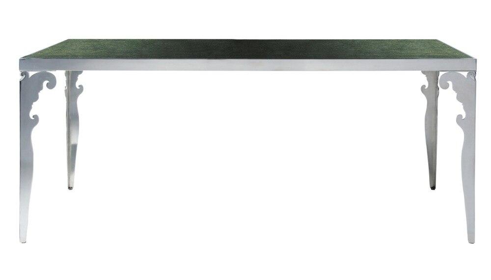 Moderne neue edelstahl esszimmer set mit glas tisch, Leder stühle (1 ...