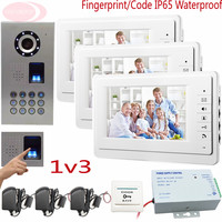 Sunflowervdp Fingerprint Video Door Entry Panel Videophone House 7 Inches For 3 Apartments With IP65 Waterproof