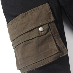 Image 5 - Scuro Icona Strato Tasche High Street Jeans Carico Degli Uomini Del Denim Dei Pantaloni Pantaloni da Uomo Streetwear
