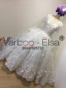 Image 2 - Vestido de baile VARBOO_ELSA, vestido de novia árabe 3D de lujo con apliques y cuentas de encaje de diamante, vestido de novia blanco 2018, vestidos de boda