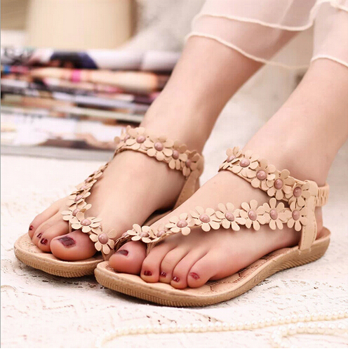 Hotsales Summer Women Sandals 2017 Fashion Bohemia Women's Shoes Flower Sandalias Femininas Casual Thong Flats Shoes Women Beige summer sandalias mujer women sandals bohemia shoes beach sandalias femininas casual thong flats sapato feminino gold sliver
