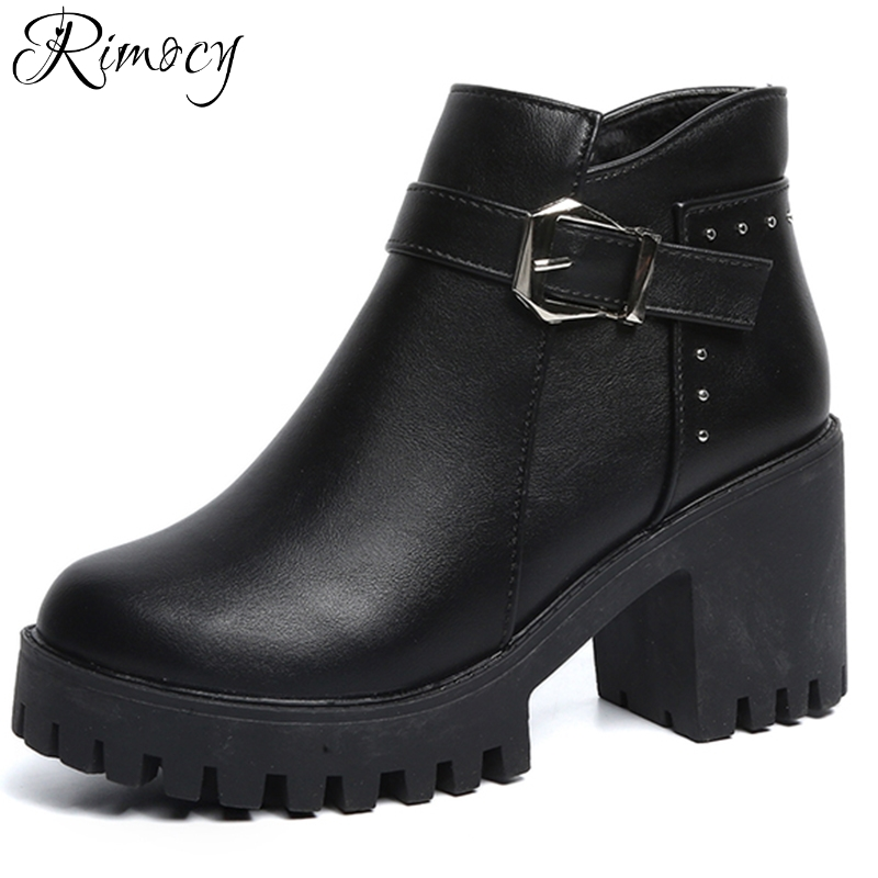 Rimocy high heel boots women winter chunky heels thick platform warm ankle boots sexy ladies buckle short booties shoes woman womens punk ankle boots chunky heels platform side zip leather moto shoes woman high heel thick heel platform motrocycle boot