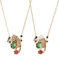 France Hand Paint Enamel Glaze Copper Alloy Australia AAA+ Crystal Leopard Sweater Necklace Animal For Women Party Accessorie193