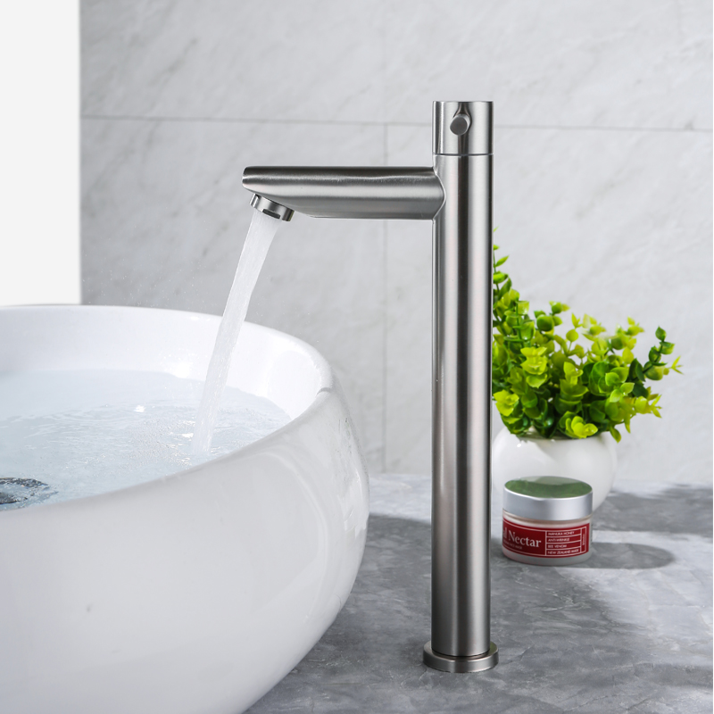 IVRICH Quick Open Tall Basin Cold Tap Brushed Stainless bathroom faucet Above Counter Basin sink faucet robinet lavabo VR5002IVRICH Quick Open Tall Basin Cold Tap Brushed Stainless bathroom faucet Above Counter Basin sink faucet robinet lavabo VR5002