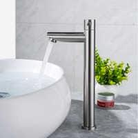 IVRICH rapide ouvrir grand bassin robinet froid brossé en acier inoxydable salle de bain robinet au-dessus du comptoir lavabo robinet lavabo VR5002