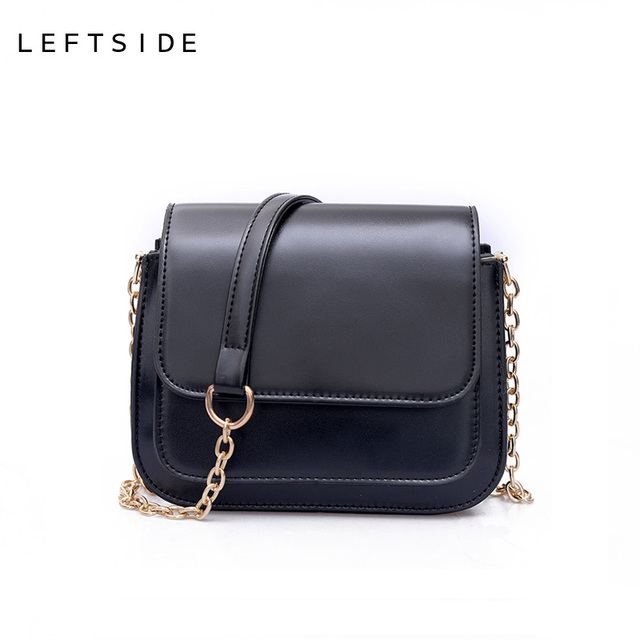 5bbb7669d88 LEFTSIDE 2017 Women PU Leather Small Handbag Designer Chain Black Female  Crossbody Bag Handbags Ladies Hand Bags Shoulder Bag