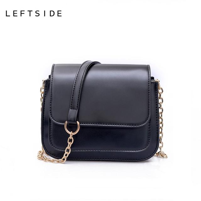 2d3d4c3387 LEFTSIDE 2017 femmes PU cuir petit sac à main Designer chaîne noir femme sac  à bandoulière