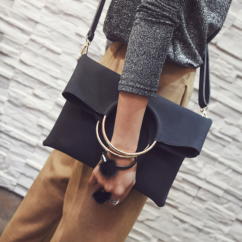 2 pieces 2018 Fashion new Women Handbags High-quality Matte PU Leather Women bag Open Metal Ring Envelopes Portable Shoulder bag metal ring pu leather tote bag