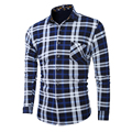 2016 stylish men fall slim fit leisure cotton plaid shirt/Male lapels high-grade Thickening of the warm leisure shirt/L-5XL