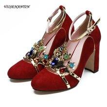 VIISENANTIN high-end customized women catwalk high heel pumps sequins rhinstone crown decor woman party shoe wedding