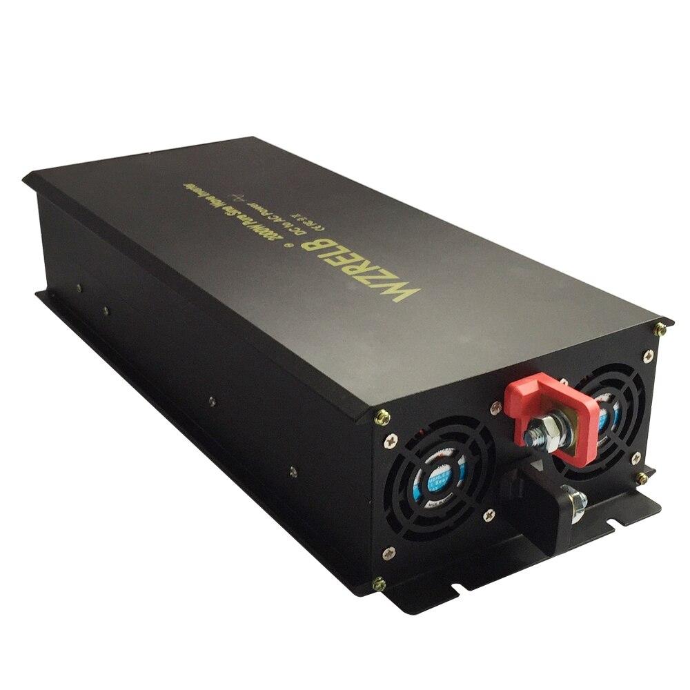 Onduleur à onde sinusoïdale Pure 24 V à 220 V 2000 W générateur onduleur système solaire convertisseur 12 V 48 V DC à 120 V 230 V 240 V AC réfrigérateur