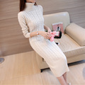 New winter long section of the dress Sisters tall neck long-sleeved knit sweater dress autumn sweater suitdo532