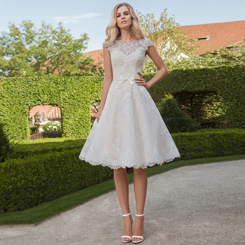 Short Wedding Dresses 2019 Vestido de Noiva Vintage Two-piece Scoop A-Line Knee-length Lace Reception Dress Party Bridal Gowns