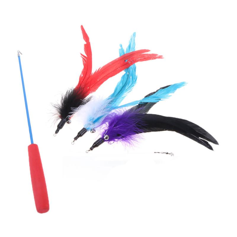 Three Sections Telescopic Pet Cat Toys Multi Color Feather Bells Pet Cat Teaser Catcher Cat Interactive Playing Stick Toy