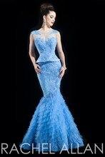 2015 New arrival Sexy Crystal Rhinestone long evening dress tulle layered Light blue 2 piece mermaid Prom dress 2015(YASA-893) 2 piece 2 2015