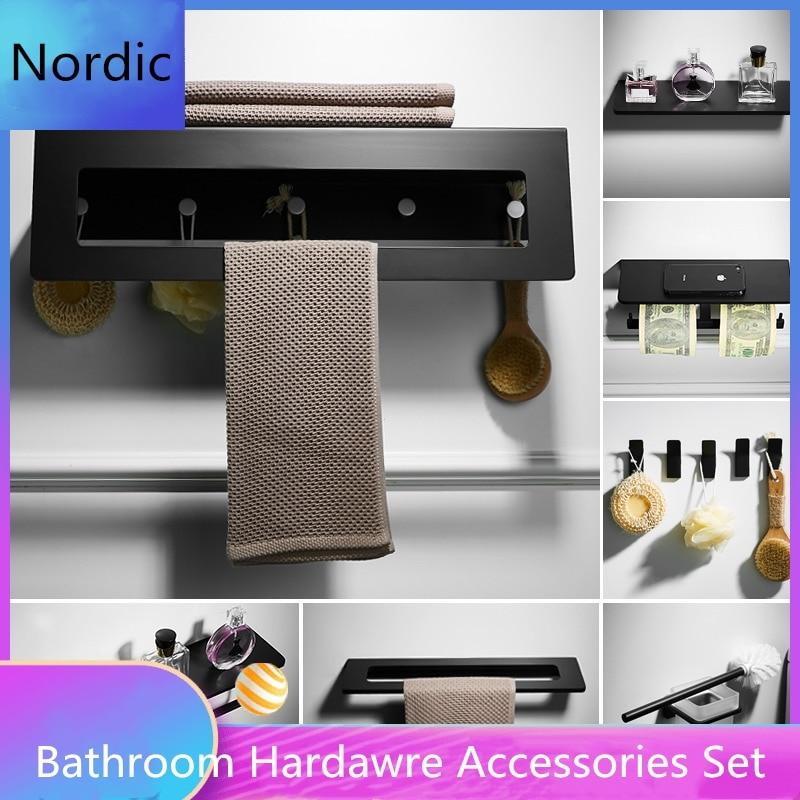 Ванная комната полка с полотенцем Бар двойной туалетной бумаги держатель Черный твердый держатель для зубной щетки аксессуары набор