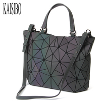 KAISIBO Lattice Geometric Bag PU Leather Briefcase Handbags Luminous Women Bag Shoulder Diamond Ladies Messenger Bags