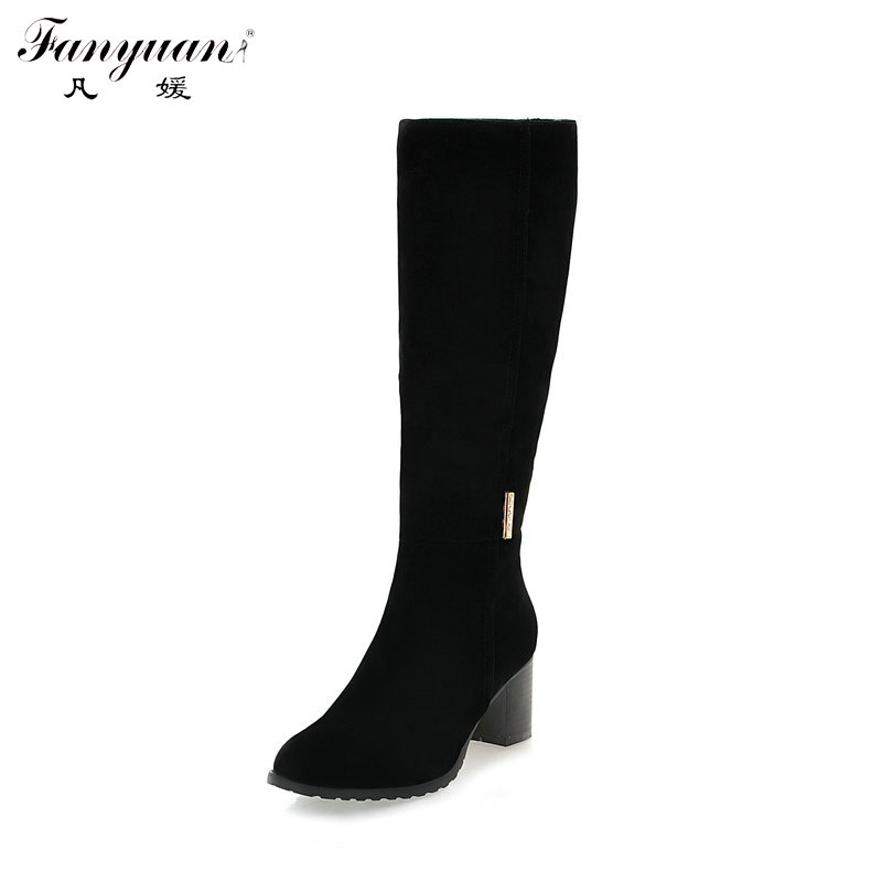 8f36f259a7b Detail Feedback Questions about Winter Plain Wide Calf Boots for Women  Round Toe Faux Suede Combat Boots Med Thick Heels Zip Mid Calf Riding Boots  Plus Size ...