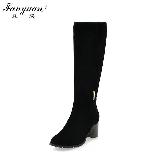 8ba5f2b746d Winter Plain Wide Calf Boots for Women Round Toe Faux Suede Combat Boots  Med Thick Heels Zip Mid Calf Riding Boots Plus Size 43