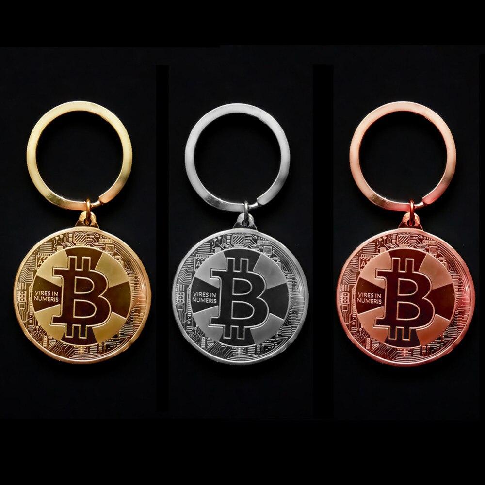 2018 nouveau plaqué or Bitcoin pièce porte-clés BTC pièce Art Collection Souvenirs de Collection cadeaux d'affaires et vacances décocadeaux