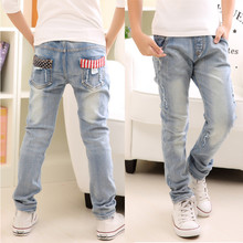 Boy #8217 s jeans Children #8217 s clothing boys jeans spring and autumn splash-ink children pants 3 4 5 6 7 8 9 10 11 12 13 14 years old cheap Casual Light Elastic Waist Regular Solid Q8023# Fits true to size take your normal size NoEnName_Null