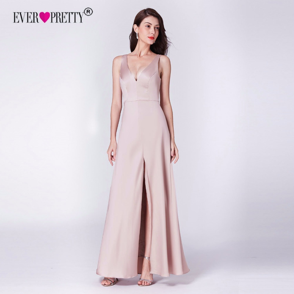 Long   Dress   for Wedding Party Gowns Ever Pretty New Arrival V-neck A-line Cheap Satin Leg Slit Pink   Bridesmaid     Dresses   for Women
