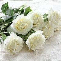 6 бутоны, реалистичные Весна латексные цветы Искусственные Розы Букеты для свадьбы офис украшения