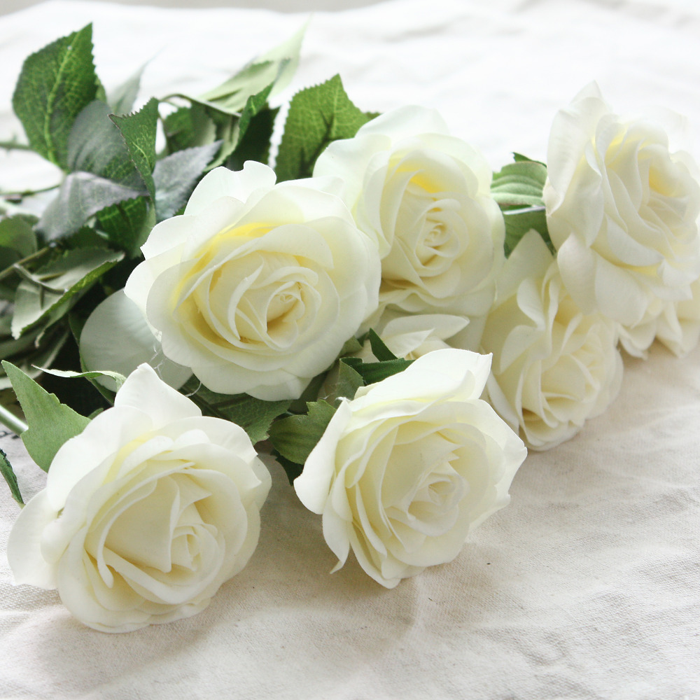 6 cabezas Real Touch Spring Latex Flowers Artificial Rose Flowers Ramos para una boda Home Office decoración