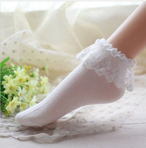 Honanda Girls Cute Bling Lace Ruffle Frilly Princess Style Cotton Socks(Pack of 4)