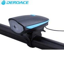 DEROACE Bicycle Light Power Bank Waterproof USB Rechargeable Bike Light Side Warning Flashlight 230 Lumen  3 Modes 120dB horn