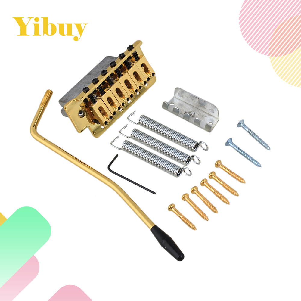 Yibuy Gold Tremolo Bridge Set For Electric Guitar yibuy gold vintage lipstick tube pickup for single coil electric guitar