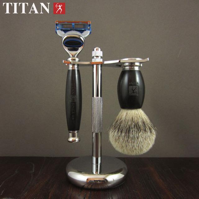 1 Soporte 1 Men Shaving Razor + 1 Cepillo Conjunto clásicos casetes titan kit peluquería razor máquina de afeitar de madera de ébano negro mango