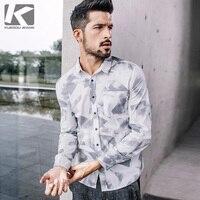 KUEGOU Nieuwe Lente Mens Casual Bloemen Shirts Met Pocket Print patroon Witte Kleur Man Lange Mouw Slim Fit Merk Blouse 0796