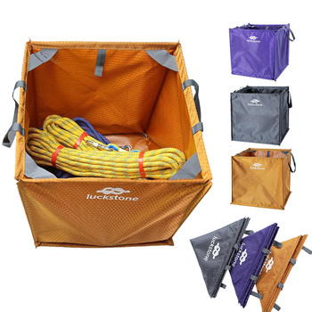 3 Color Nylon Folding Cube Rock Climbing Arborist Throw Line Rope Foldable Storage Bag for Camping Hiking Climbing Accessory